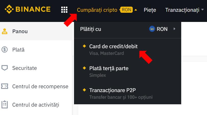 Cumpără criptomonede BTC cu cardul de credit/debit
